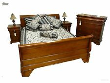 Sleigh Bed Queen Size Classic French Wooden Mahogany Antique Reproduction