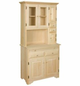 NEW AMISH Unfinished Solid Pine | Hoosier China Cabinet | Rustic Wood Handmade!