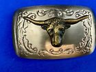 Usa made mixed metal western Rodeo Steer Texas longhorn belt buckle