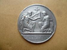 Médaille de mariage chrétien nominative  en argent signé Petit.F de 1889
