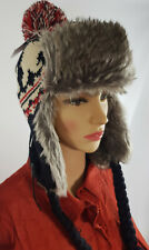 MEN WOMEN KNITTED FAUX FUR TRAPPER LINED SKI WINTER EAR FLAP BOBBLE HAT Dec08-3