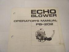 USED ECHO PB-202 OPERATORS MANUAL        14 PAGE