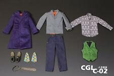Custom Joker Heath Ledger 2.0 1/6 Costume DX01 DX11 Jacket Pants Suit shoes set