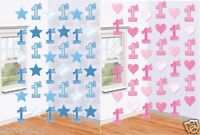 FIRST 1ST BIRTHDAY BOY GIRL BLUE PINK HANGING PARTY STRINGS 1 TODAY DECORATIONS