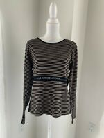 Sonia Rykiel Paris Brown & Black Stripe Cotton Knit Legende Top SZ XL