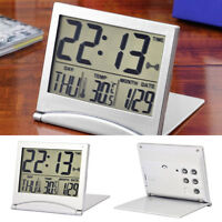 Silver Digital LCD Display Desk Alarm Clock Calendar Date Time Thermometer Gift