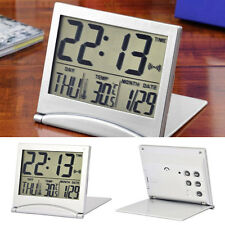 Silver Digital LCD Display Desk Alarm Clock Calendar Date Time Thermometer Gift!
