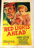RED LIGHTS AHEAD! '36 ANDY CLYDE, JACKIE GLEASON ORIGINAL U.S. OS FILM POSTER