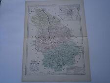 Carte 19° 1852  couleur atlas Malte brun Département Haute Marne Plan  Chaumont
