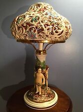 Mid-Century Capodimonte Table Lamp With Putti Base & Floral Filigree Shade Italy