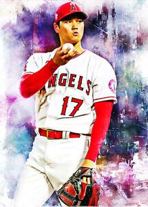 2021 Shohei Ohtani Angels Baseball 7/25 White ACEO Fine Art Print Card By:Q