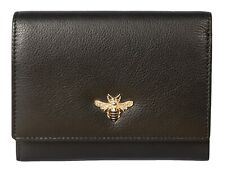 Mala Leather Compact Purse Black bumble bee RFID MASON collection BEES 3473