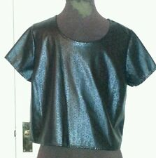 WOMENS Black Faux Leather PU TSHIRT Dress uk14 us10 eu40 Chest c38ins c97cms