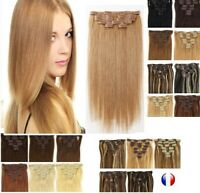 Extensions A Clips Cheveux Remy Lisses Naturel 49/60cm 85g 125g express 24/48H