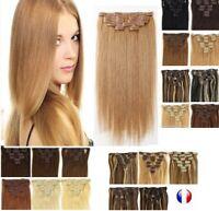 Extensions A Clips Cheveux Remy Lisses Naturel 49/60cm 85g 125g express 24/48H
