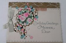 1930s Unsigned Birthday Greetings Mother Dear Bristol Board Ribbon Greeting Card