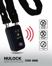 "NUNET Nulock Keyless Bluetooth Bike Smart lock w / 110db Alarm 31"" Covered Chain"
