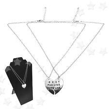 Best Fucking Bitches Necklace 2 Parts Broken Heart Chain Gifts Silver Colour