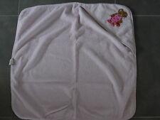 Cape de bain /  serviette de baincarré 75 x75 cm rose clair brodé ourson