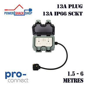 PC, EXTENSION LEAD, 13A Plug to 13A Twin Weatherproof Socket, 1.5 - 6 Metres