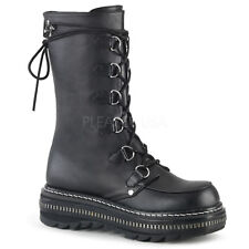 Demonia LILITH-270 Women's Black Vegan Leather Platform Lace-Up Mid-Calf Boots
