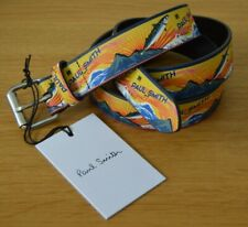 "PAUL SMITH yellow Japanese Mackerel fish belt leather 38"""