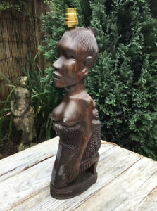 VINTAGE AFRICAN HAND CARVED WOODEN LAMP LADY WITH BABY
