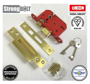 "Union 68mm (2.5"") StrongBOLT - BS 5 Lever Mortice Sashlock Polished Brass"