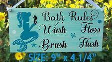 SIGN BATH RULES BATHROOM MERMAID WALL PLAQUE TROPICAL OCEAN BEACH HOUSE DECOR