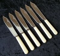 Silver chrome plate electroplate vintage Art Deco antique set of six cutlery G
