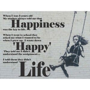 Happiness Happy Banksy Girl Swinging Quote Unframed Wall Art Poster