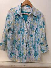 D & Co 2-piece turquoise flower print burnout 3/4 sleeve shirt blouse w/ tank S