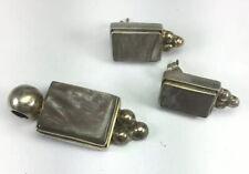 Vintage Sterling Silver Genuine Gray Agate Post Earrings & Pendant Matching Set