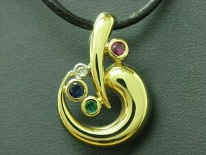 14kt 585 Yellow Gold Pendant With Diamond, Sapphire, Ruby & Emerald Trim / 3,2g