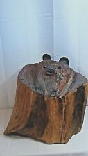 ANTIQUE GERMAN BLACK FOREST CARVED BEAR CUB STATUE LOOKING FROM INSIDE  A STUMP