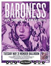 "Baroness ""Us Spring Tour 2016"" Portland Concert Poster- Sludge/Heavy Metal Music"