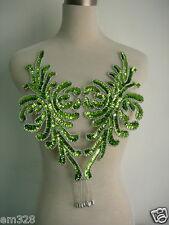 Bd47-4 Fringed Bodice Sequin Bead Applique Motif Lime Dancewear BellyDance