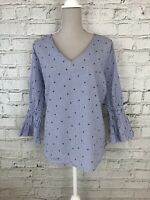 GEORGE - Blue White Stripe Print Flare Long Sleeve Top - Womens - Size 20