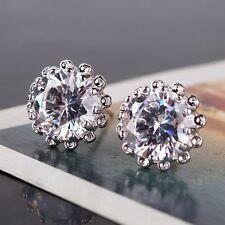Glamorous white sapphire Bling bling design 18K White gold filled stud earring