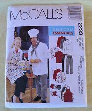 McCall's #2233 Kitchen Uniform Essentials Chef Hat Jacket Pants Apron 46 Xl M/F