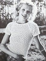 Ladies Knitting Pattern Vintage Short Sleeve Lacy Top/Jumper/Sweater 4Ply F00025