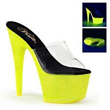 "UK Size 7 Pleaser Adore 701UVG Neon Yellow Glitter UV Platform Mules 7"" Heel"