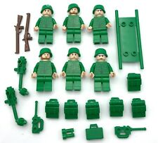 Lego 6 New Army World War 1 2 Minifigures Flesh Heads Soldiers Guns Weapons
