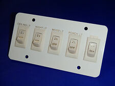 NEW 12V RV ON OFF LIGHT SWITCH PANEL CEILING, NIGHT, MOOD, PORCH, STEPS,  IVORY