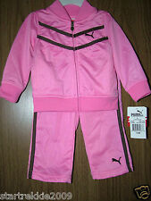 Puma Baby Girls 2 Pc Tracksuit Set, Pink Color. Size 12 Months. Nwt