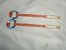 2 Vintage Wood Turned Lace Making Bobbins Orange Nice