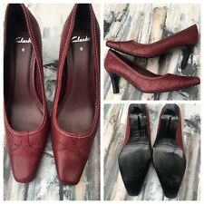 Clarks Wine Red Leather Ladies Court Shoes UK 6 Eur 39