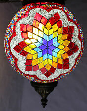 Stained Glass Mosaic Hanging Light Shade 26 Inches Length