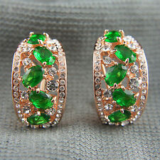 18k rose Gold plated with Swarovski elements green classy huggie earrings