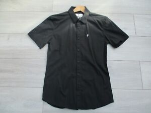 Father Sons Mens Short Shirt Black M Slim Stretch Fitted